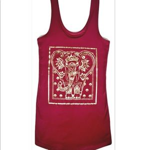 Gold Foil Elephant Embellished Tank Top